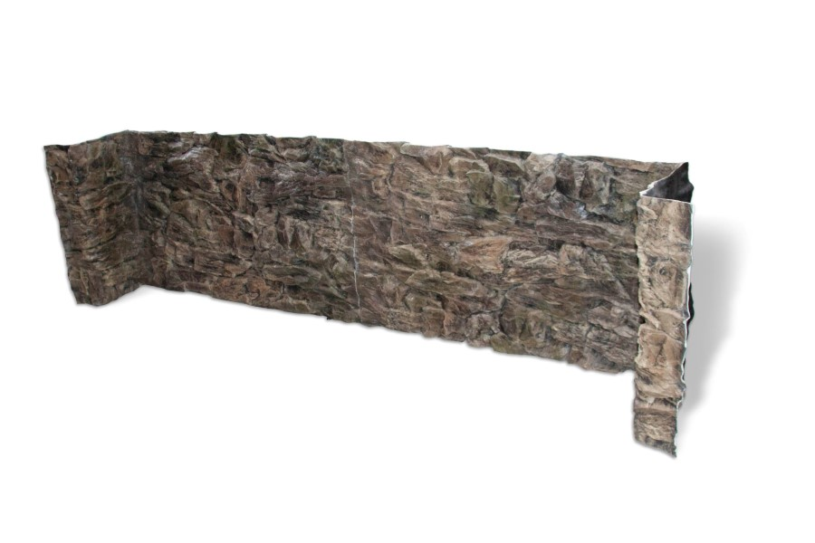 3D grey rock background with side walls and weir covers