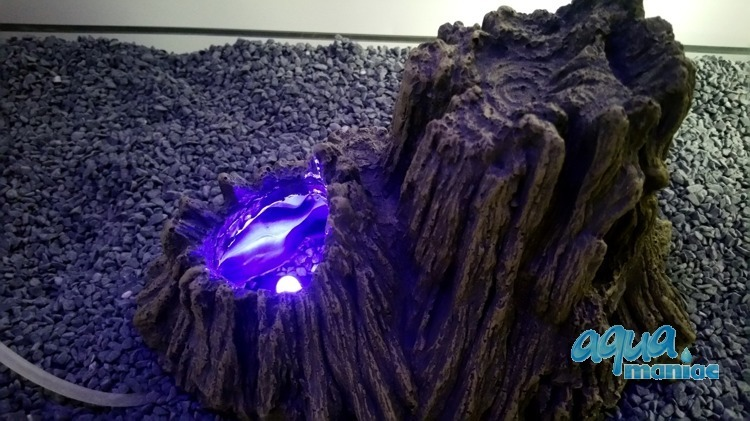 Aquarium tree stump volcano with blue led lights for How to make illuminated tree stumps