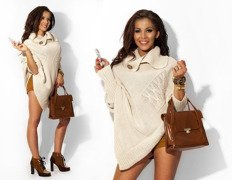Sexy Jumper Cardigan Beige Asymmetrical Knitted Poncho Top - One size